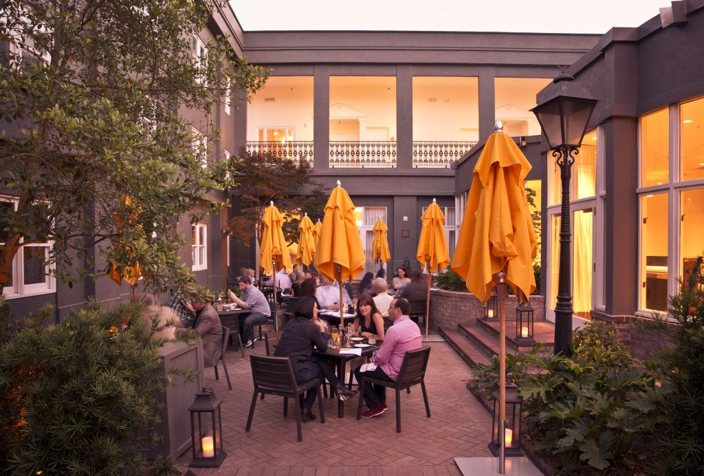 Sit outside and enjoy a dish with a glass of wine from Pacci Italian Kitchen + Bar. Photo provided by The Brice, A Kimpton Hotel.