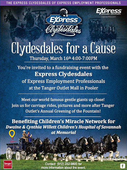 2017 Clydesdales for a Cause at Tanger Outlets in Savannah