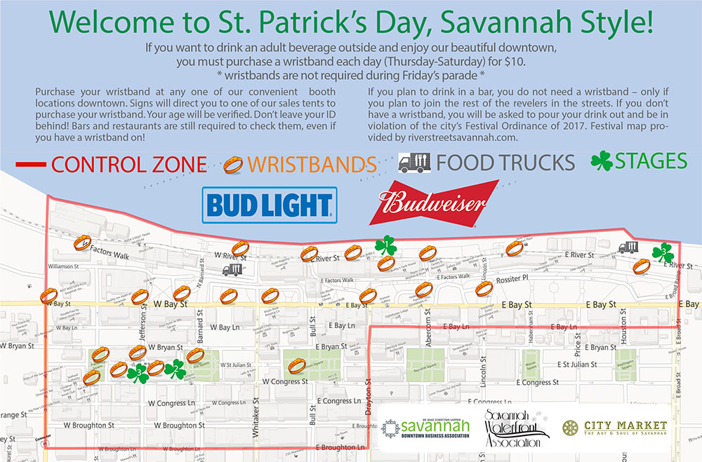 2017 Wristband Control Zone St Patricks Day Festival Map