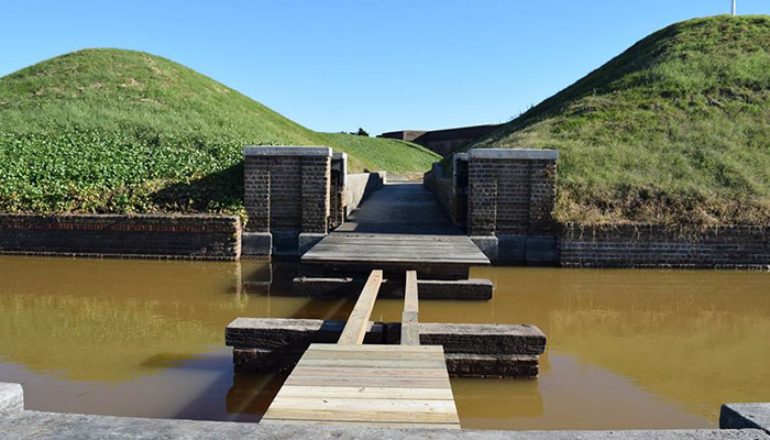 Fort Pulaski missing bridge after Hurricane Matthew