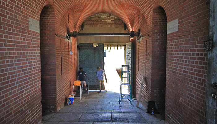Fort Pulaski rust prevention after Hurricane Matthew