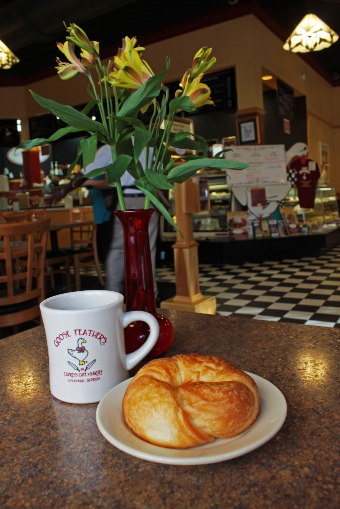 Goose Feathers Cafe is one of the only places in the Historic District that makes their own croissants fresh each day. Photo by Andrea Six.