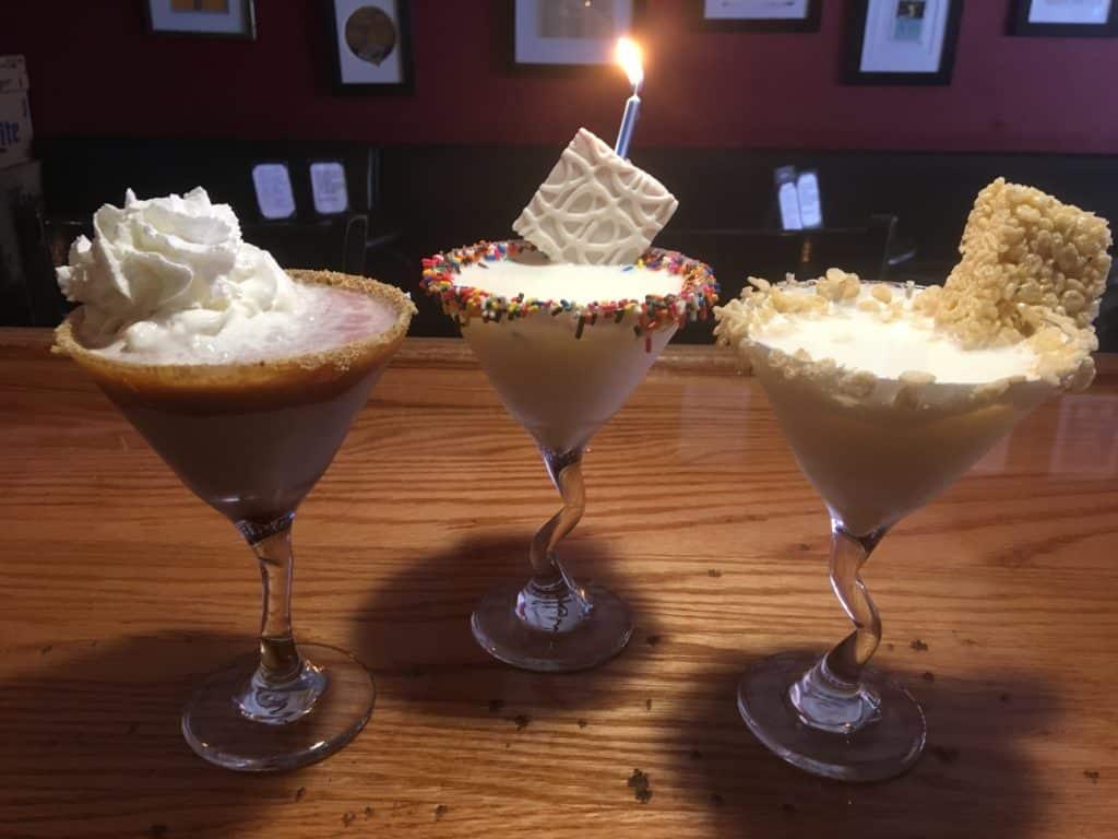 jen's and friends, martinis, blackberry cobbler, birthday cake, rice krispie treat