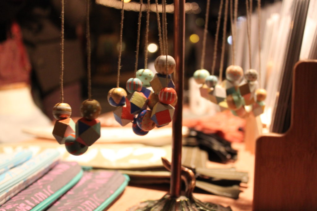 These necklaces were some of the many handmade goods from Jessica Duthu's collection, Strawberry Moth.