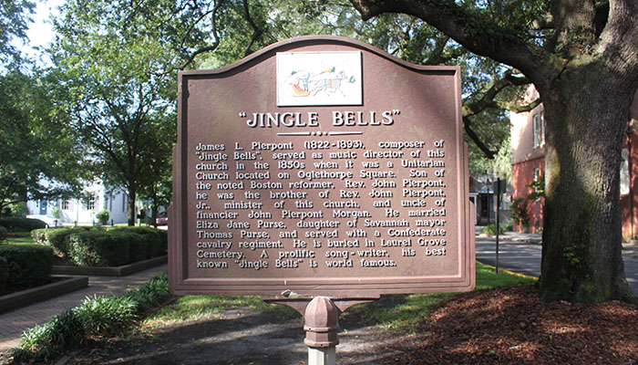 Jingle Bells Historical Marker in Savannah Troup Square