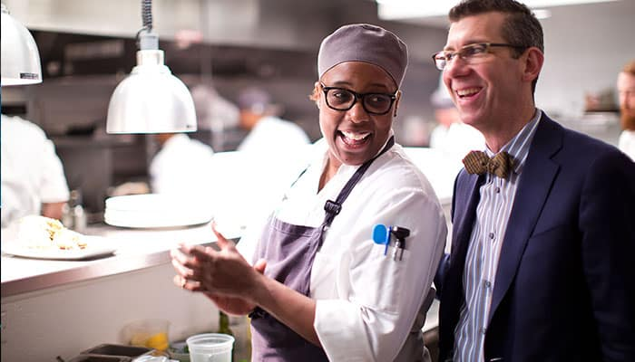 John Morisano and Chef Mashama Bailey at The Grey