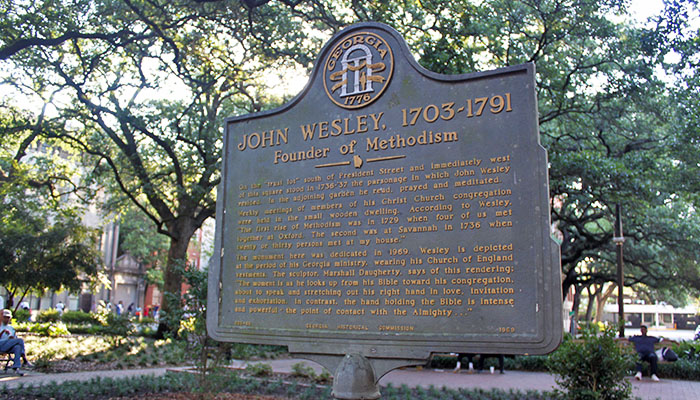 John Wesley Historical Marker in Reynolds Square