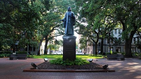 John Wesley Monument in Reynolds Square in Savannah GA