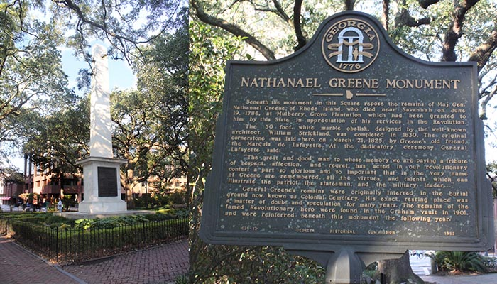 Nathanial Greene Monument in Johnson Square