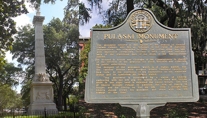 Pulaski Monument in Monterey Square