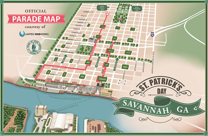 Savannah St. Patrick's Day Parade Route Map
