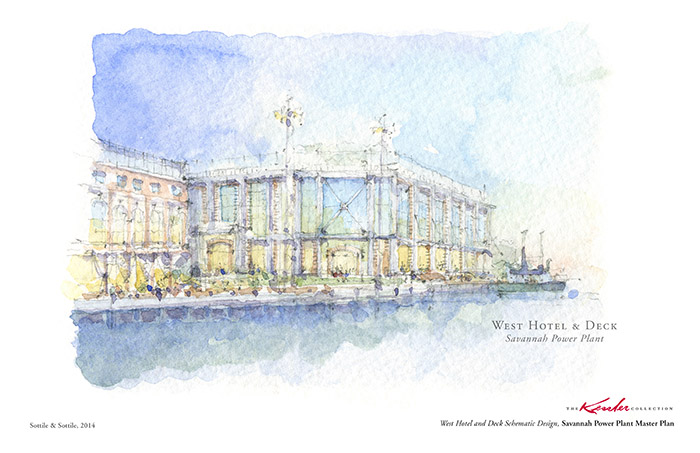 Savannah West Hotel Power Plant Watercolor Rendering