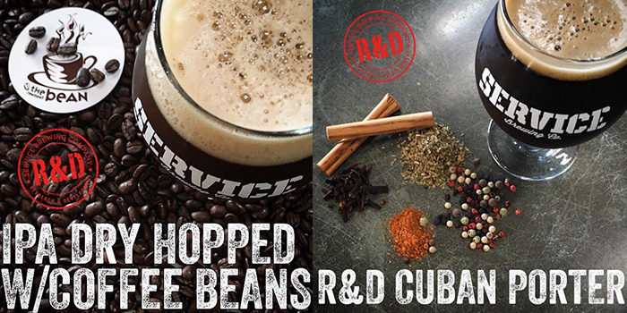 Service Brewing R&D IPA Dry Hopped with Coffee Beans and Cuban Porter