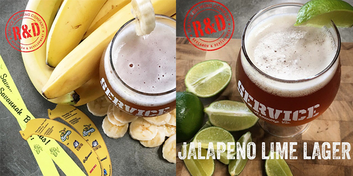 Service Brewing R&D Jalapeno Lime Lager and Savannah Bananas