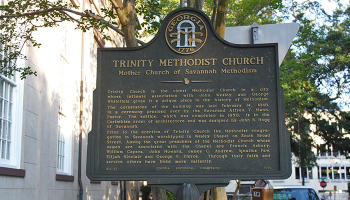 Trinity Methodist Church Historical Marker on Telfair Square