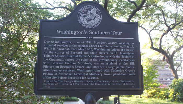 Washinton's Southern Tour Historical Marker in Johnson Square