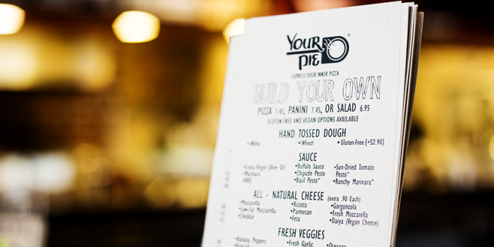 Your Pie Pizza Menu